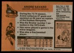 1975 Topps #155  Andre Savard   Back Thumbnail