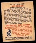 1949 Bowman #7  Joe Dobson  Back Thumbnail