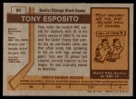 1973 Topps #90  Tony Esposito   Back Thumbnail