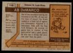 1973 Topps #118  Ab DeMarco   Back Thumbnail