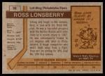 1973 Topps #36  Ross Lonsberry   Back Thumbnail