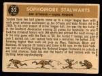 1960 Topps #32   -  Jim O'Toole / Vada Pinson Sophomore Stalwarts Back Thumbnail