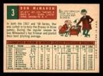1959 Topps #3  Don McMahon  Back Thumbnail