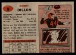 1957 Topps #9  Bobby Dillon  Back Thumbnail
