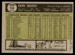 1961 Topps #14  Don Mossi  Back Thumbnail