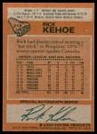 1978 Topps #213  Rick Kehoe  Back Thumbnail