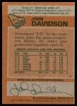 1978 Topps #211  John Davidson  Back Thumbnail