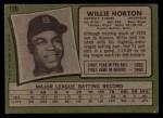 1971 Topps #120  Willie Horton  Back Thumbnail