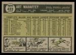 1961 Topps #433  Art Mahaffey  Back Thumbnail