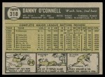1961 Topps #318  Danny O'Connell  Back Thumbnail