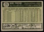 1961 Topps #270  Bob Friend  Back Thumbnail