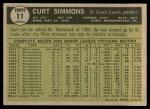 1961 Topps #11 BRE Curt Simmons  Back Thumbnail