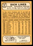 1968 Topps #291  Dick Lines  Back Thumbnail