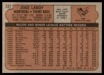 1972 Topps #727  Jose Laboy  Back Thumbnail