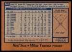 1978 Topps #645  Mike Torrez  Back Thumbnail