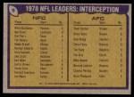 1979 Topps #5   -  Willie Buchanon / Ken Stone / Thom Darden Interception Leaders Back Thumbnail