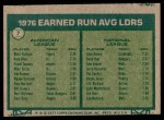 1977 Topps #7   -  Mark Fidrych / John Denny ERA Leaders   Back Thumbnail