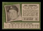 1971 Topps #314  Jeff Torborg  Back Thumbnail