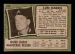 1971 Topps #346  Lum Harris  Back Thumbnail
