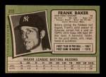 1971 Topps #213  Frank Baker  Back Thumbnail