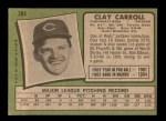 1971 Topps #394  Clay Carroll  Back Thumbnail