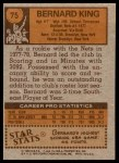 1978 Topps #75  Bernard King  Back Thumbnail