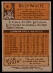1978 Topps #91  Billy Paultz  Back Thumbnail