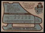 1979 Topps #153  Lanny McDonald  Back Thumbnail