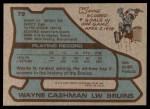 1979 Topps #79  Wayne Cashman  Back Thumbnail