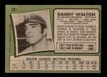 1971 Topps #281  Danny Walton  Back Thumbnail