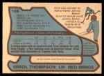 1979 O-Pee-Chee #106  Errol Thompson  Back Thumbnail