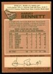 1978 O-Pee-Chee #163  Harvey Bennett  Back Thumbnail