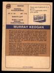 1974 O-Pee-Chee WHA #44  Murray Keogan  Back Thumbnail