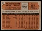 1972 Topps #325  Mel Stottlemyre  Back Thumbnail