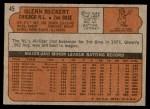 1972 Topps #45 YLW Glenn Beckert  Back Thumbnail
