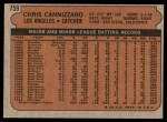 1972 Topps #759  Chris Cannizzaro  Back Thumbnail