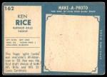 1961 Topps #162  Ken Rice  Back Thumbnail
