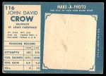1961 Topps #116  John David Crow  Back Thumbnail