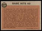 1962 Topps #139 GRN  -  Babe Ruth Babe Hits 60 Back Thumbnail