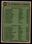 1974 Topps #207   -  Nolan Ryan / Tom Seaver Strikeout Leaders   Back Thumbnail