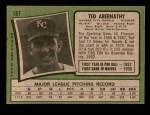 1971 Topps #187  Ted Abernathy  Back Thumbnail