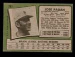 1971 Topps #282  Jose Pagan  Back Thumbnail
