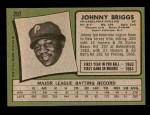 1971 Topps #297  Johnny Briggs  Back Thumbnail