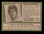 1971 Topps #259  Dave Marshall  Back Thumbnail