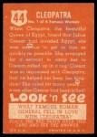 1952 Topps Look 'N See #44  Cleopatra  Back Thumbnail
