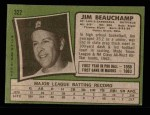 1971 Topps #322  Jim Beauchamp  Back Thumbnail
