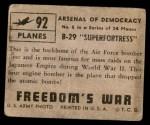 1950 Topps Freedoms War #92   B-29 Superfortress   Back Thumbnail