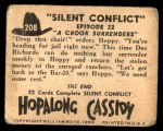 1950 Topps Hopalong Cassidy #208   crook surenders Back Thumbnail