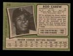 1971 Topps #210  Rod Carew  Back Thumbnail