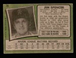 1971 Topps #78  Jim Spencer  Back Thumbnail